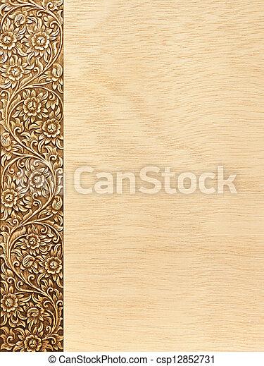 flower carved frame - csp12852731