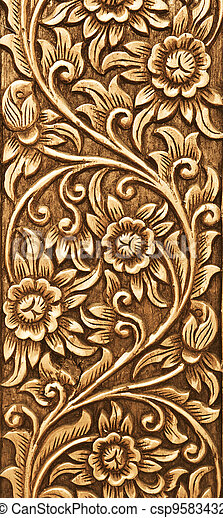 flower carved on wood - csp9583432