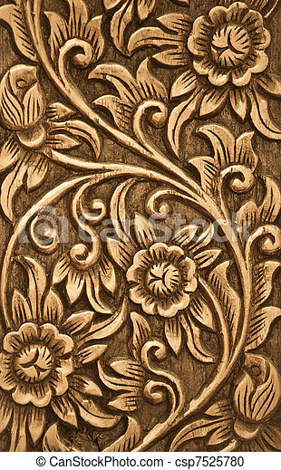 flower carved on wood - csp7525780