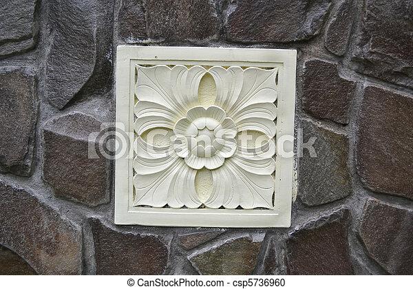 Flower Caving Stone Stone Craft Art Design At Wall