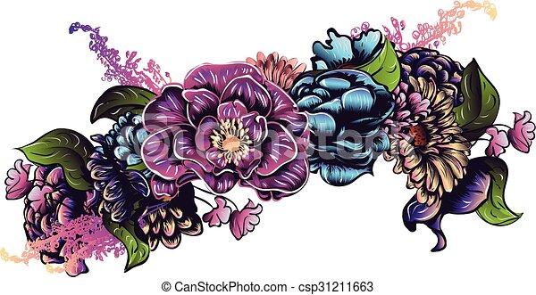 Colorful decorative flower crown, garland, floral... clip ...