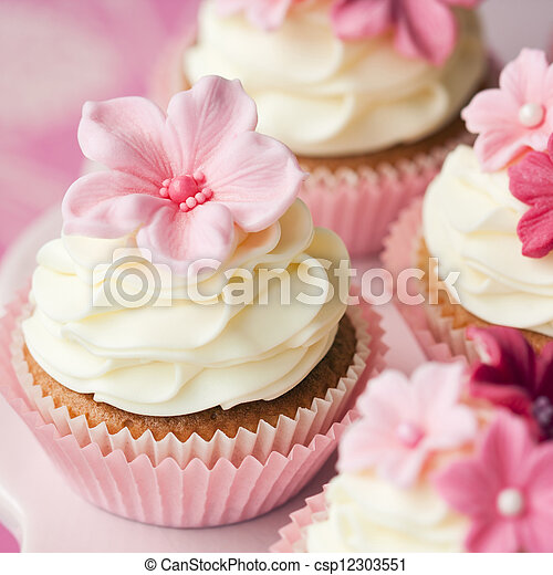 Flower Cupcakes Cupcakes Decorated With Pink Sugar Flowers