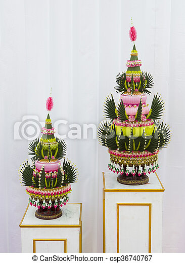 Flower decorations on pedestal trays in Thai traditional wedding ceremony - csp36740767