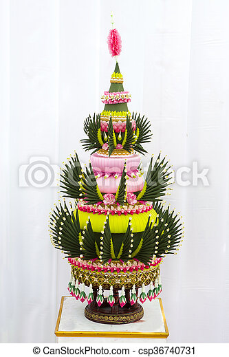 Flower decorations on pedestal trays in Thai traditional wedding ceremony - csp36740731