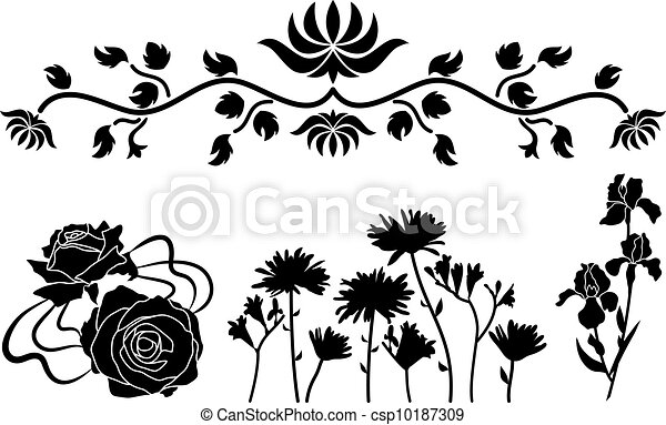Line Drawing Flower Vector : Flower decorative ornament. the elements vector