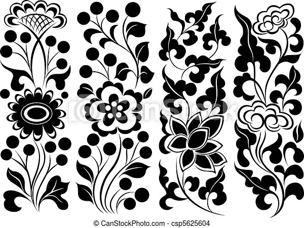 Line Art Flower Design : Flower element set border eps vector search clip art