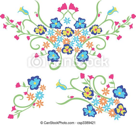 flower embroidery graphic design - csp3389421