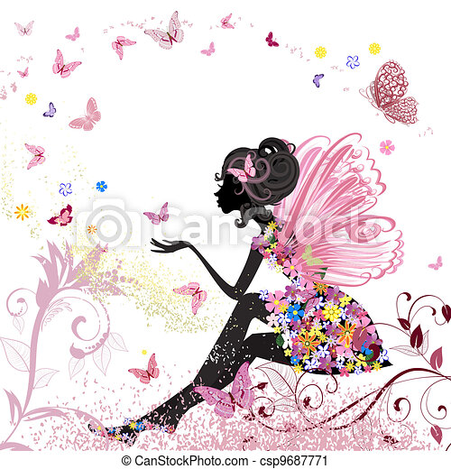Flower Fairy in the environment of butterflies - csp9687771