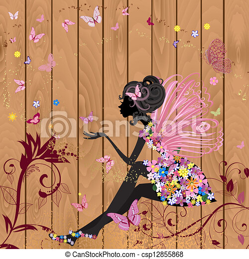 Flower Fairy on a wood texture for your design - csp12855868