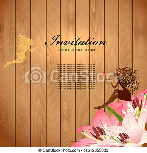 Flower Fairy on a wood texture for your design - csp12855883