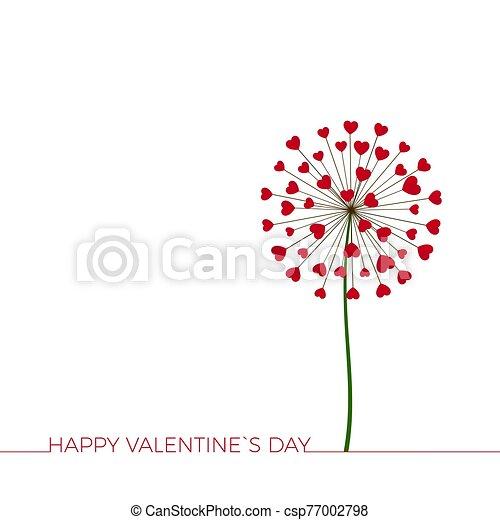 flower., felicitación, love., feliz, día, diente de león, saludo, hearts., romance, encantador, valentineçs, card., vector - csp77002798