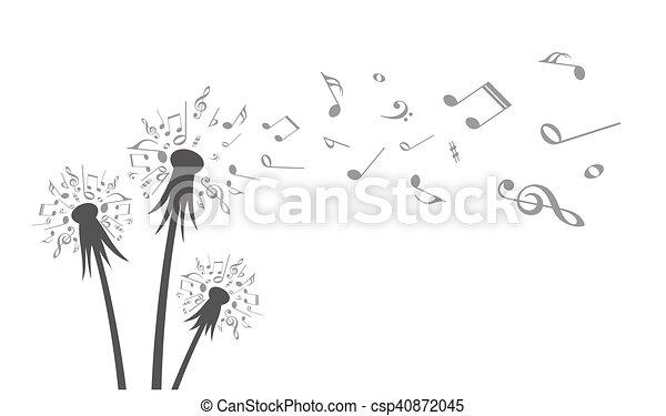 Flower Field Dandelion With Flying