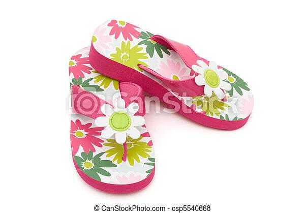 Flower Flip Flops Pink Flowered Flip Flops On A White Background
