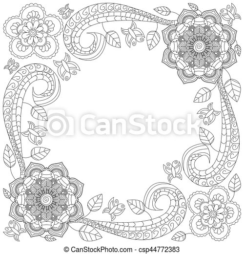 Doodle Flowers Decorative Border Coloring Book For Adult And Children Editable Vector Illustration