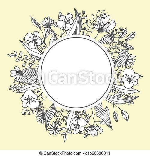 Flower Frame Greeting Card Template Floristic Decor Floristic