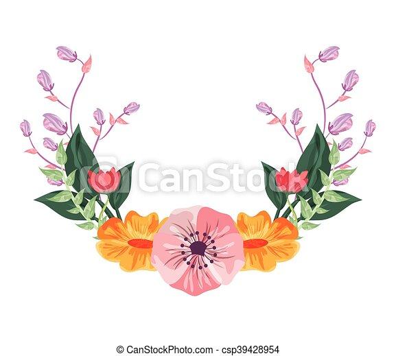 Flat Design Flower Frame Icon Vector Illustration Clipart