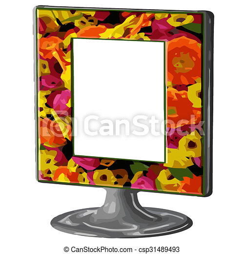 Flower frame on stand. Colorful flower drawn frame on stand... stock ...