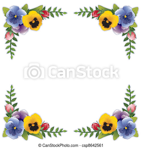 flower frame pansies and roses victorian flower frame with pansies rh canstockphoto com pansy pictures clip art pansy clip art border