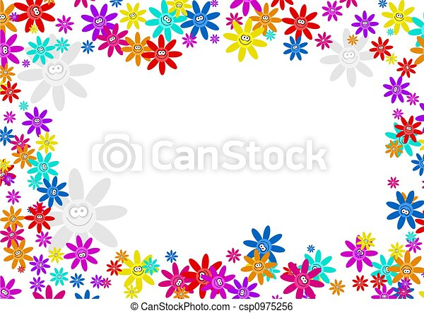 Colourful Decorative Cartoon Floral Flower Frame Border Stock