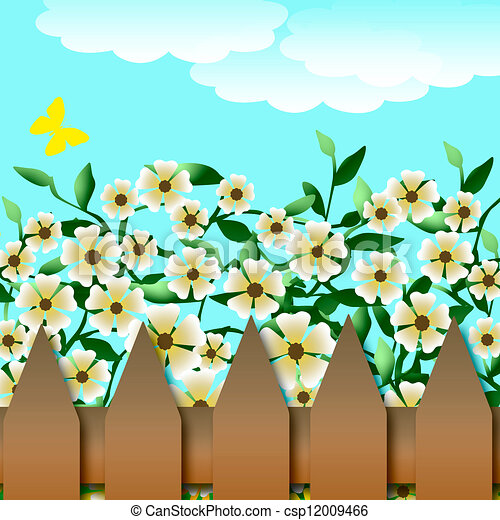 Vector Picket Fence With Spring Flowers Isolated On White Background  Royalty Free Cliparts, Vectors, And Stock Illustration. Image 30714386.