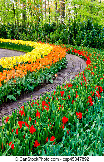 Flower Garden Beautiful Park Garden In Spring Beautiful Garden
