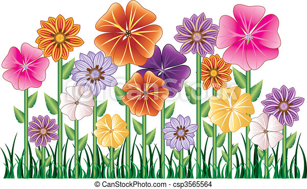 vector illstration of a flower garden with grass easy to move elements rh canstockphoto com free flower garden clipart free flower garden clipart