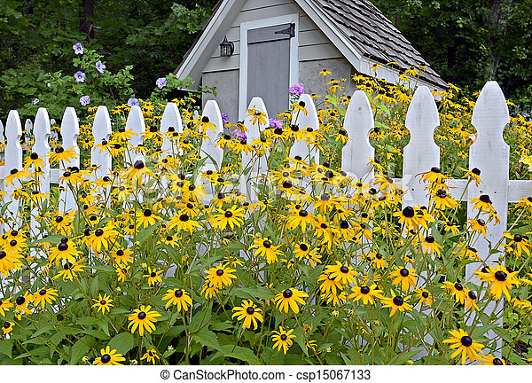 Flower Garden, Fence And Shed   Csp15067133
