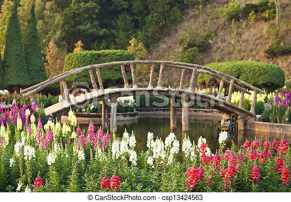 Flower garden japanese style. - csp13424563