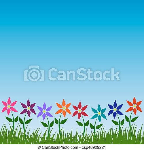 Flower garden vector pattern floral nature background design in spring or  summer with colorful flowers green grass leaves and blue sky