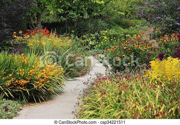 Flower Garden With Winding Path - csp34221511