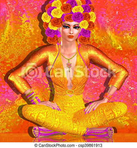Flower hat adorns beautiful woman - csp39861913