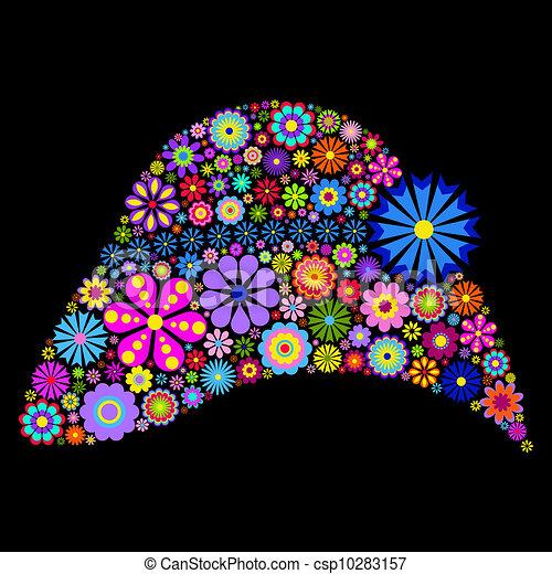 flower hat on black background - csp10283157