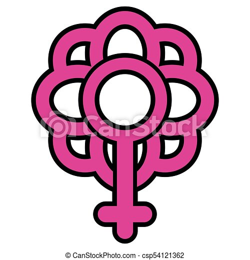 Flower Icon With Female Gender Symbol Vector Illustration Clip
