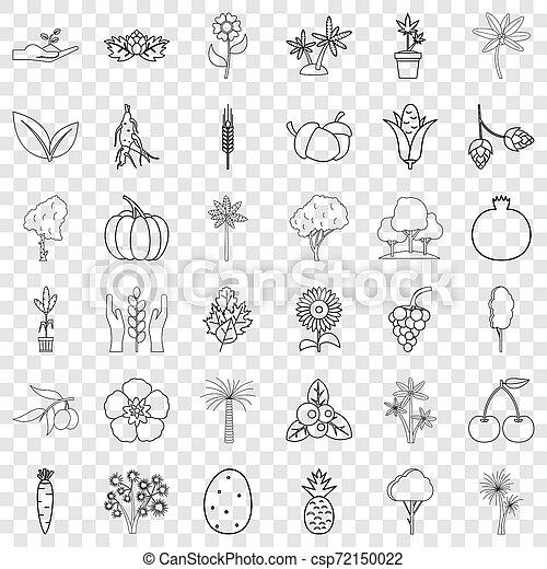 Flower icons set, outline style - csp72150022
