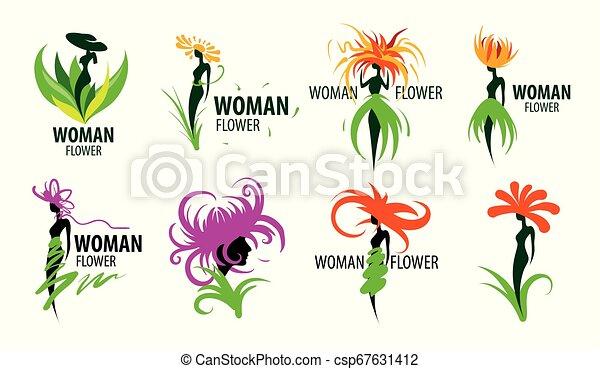 Logotipo de chica en forma de flor. Ilustración de vectores - csp67631412