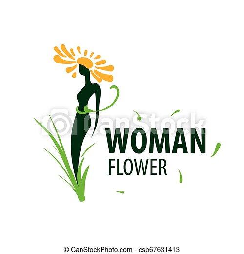 Logotipo de chica en forma de flor. Ilustración de vectores - csp67631413