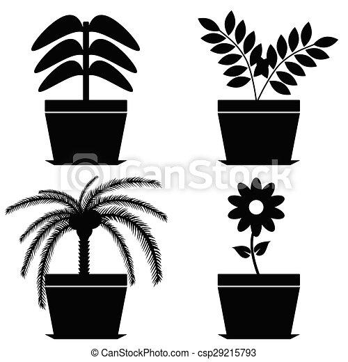 Flower In Pot Black Vector Silhouette