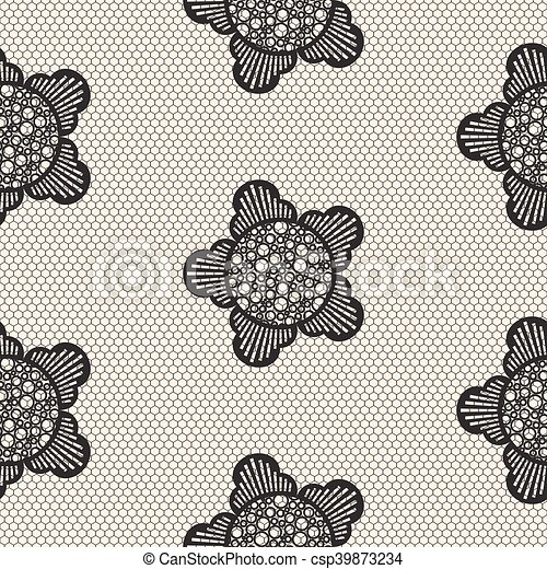Flower Lace Seamless Pattern Net Black Cell Textile Openwork Knit