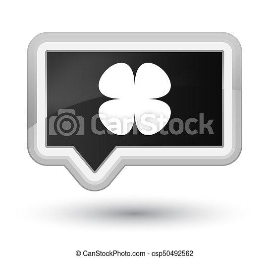 Flower leaf icon prime black banner button - csp50492562