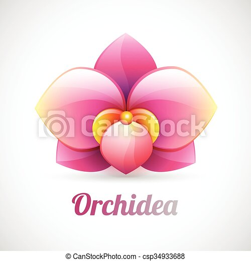 flower logo - pink orchid flower shape - vector icon isolated on white background - csp34933688