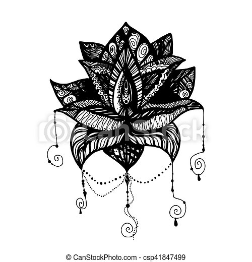 - Flower Lotus Tattoo. Flower Lotus. Magic Symbol For Print, Tattoo, Coloring  Book, Fabric, T-shirt, Cloth In Boho Style.