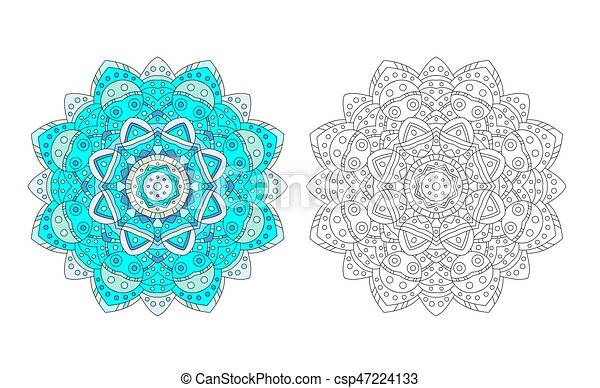 Flower Mandala Coloring Page Vector Mandala Zentangle Coloring Page Antistress Adult Drawing Absract Flower Pattern Vector Canstock