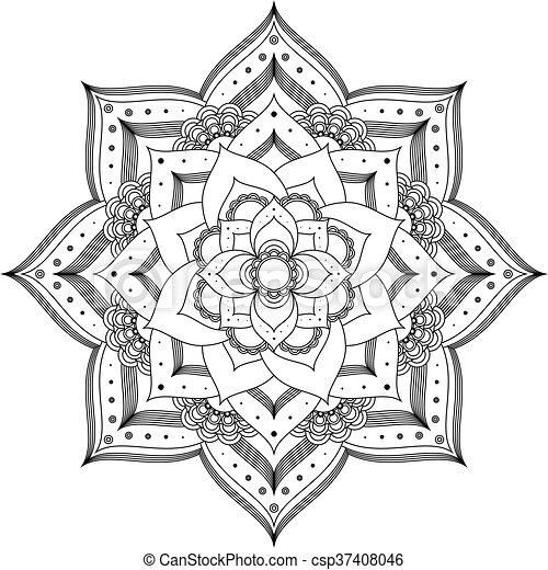 Flower Mandala On A White Background Made Black Outline