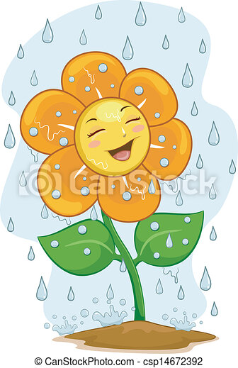 Flower Mascot Under the Rain - csp14672392