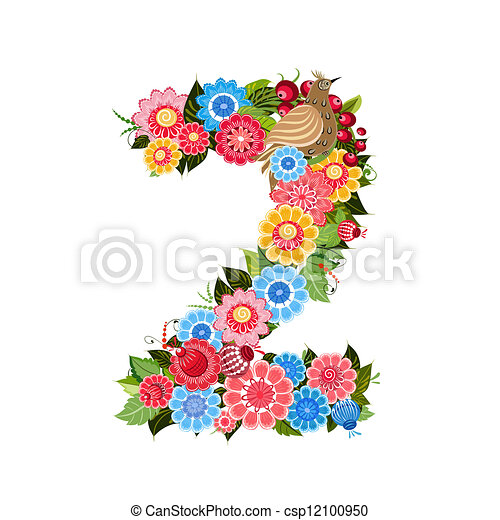 Flower number with birds in Khokhloma style - csp12100950