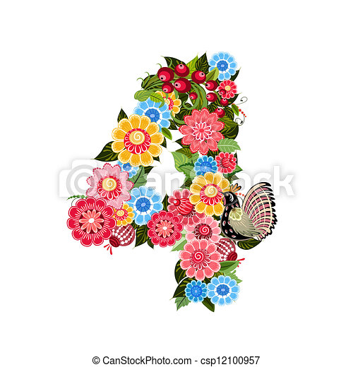 Flower number with birds in Khokhloma style - csp12100957
