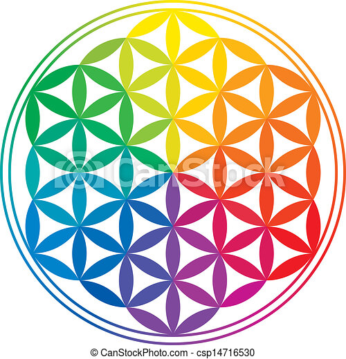 Flower Of Life Rainbow Colors - csp14716530