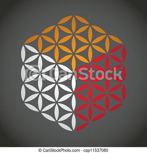 flower of life symbol color cube - illustration - csp11537080