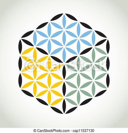 flower of life symbol color cube - illustration - csp11537130