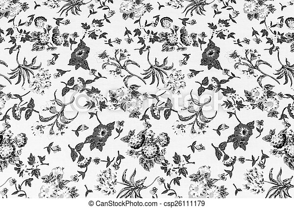 flower on fabric background, gray colour. - csp26111179